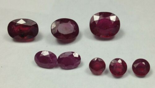 8 Hybrid rubies, 15.9 cts TCW, rnds and ovals#15171