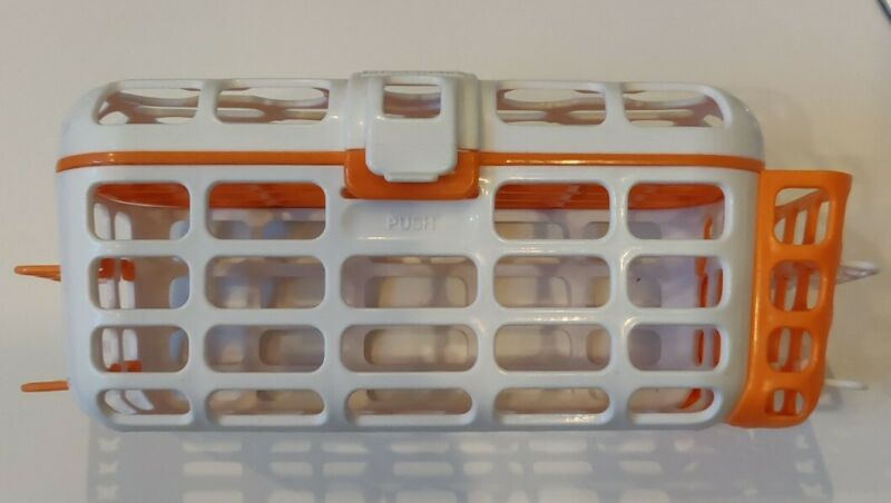 Preowned Munchkin Sterilize Basket Cleaning Dishwasher Drying Rack Orange /White