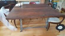 Handcrafted timber square dining table with cast iron frame. Prahran Stonnington Area Preview