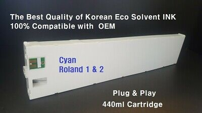 Cyan.eco Solvent Ink Cartridge For Roland 440ml All Compatible. Plug And Play.