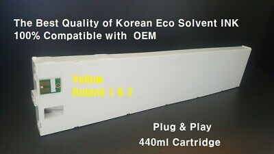 Yellow .eco Solvent Ink Cartridge For Roland 440ml All Compatible. Plugplay.