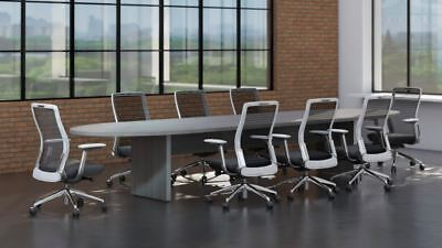 Amber 10 Racetrack Office Conference Table - Valley Grey