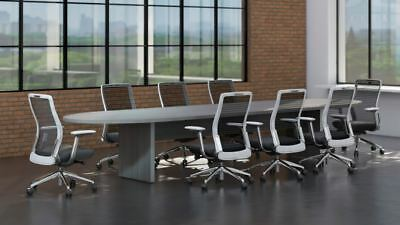 Amber 12 Racetrack Office Conference Table - Valley Grey