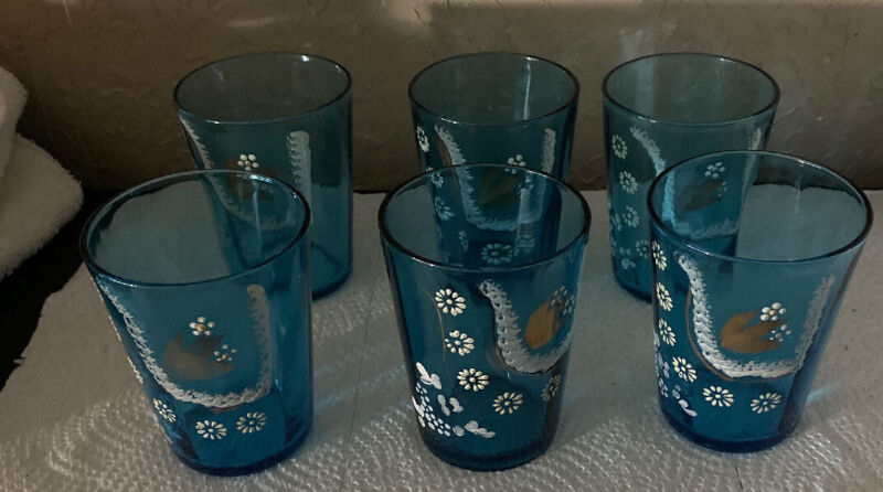 Vintage Blue Drinking Glasses Hand paint White Flowers Gold
