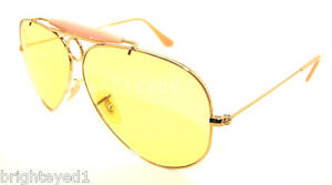 ray ban aviator sunglasses yellow  authentic ray ban shooter ambermatic aviator sunglass rb 3138 001/4a new 58mm