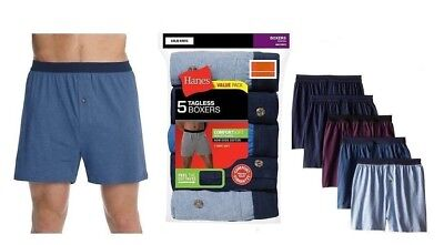 Hanes Men's 5-Pack Classics Comfort Soft Waistband Knit Boxers (T-Shirt Soft)
