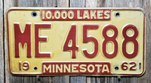 🐾 1962 MINNESOTA LICENSE PLATE 4588
