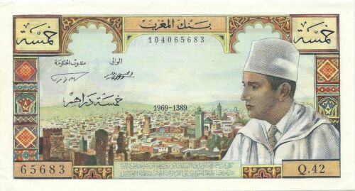 MOROCCO 5 DIRHAMS 1969 ~ P-53f ~ KING MUHAMMAD V ~  CHOICE ABOUT UNCIRCULATED