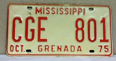 1975 MISSISSIPPI, Grenada County, License Plate (CGE 801)