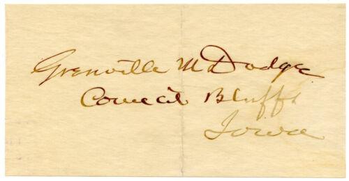 GRENVILLE DODGE, Union General/Transcontinental RR/Council Bluffs/Autograph 8302