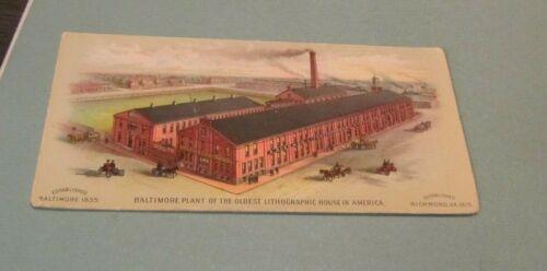 Antique A. Hoen & Co. Lithographers Baltimore Plant Advertising Ink Blotter