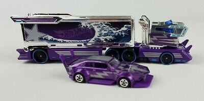 Hot Wheels Purple Galactic Express Tractor-Trailer With Car