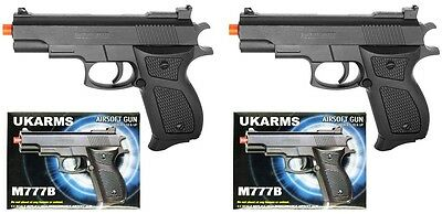 "2X 6"" Black Plastic Airsoft Pistol Handgun Gun w/BB 105fps A"