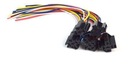 12v Dc Spdt 3040a 5 Wire 16-14 Ga Gauge Relay Socket Harness 5 Pack Ers-124