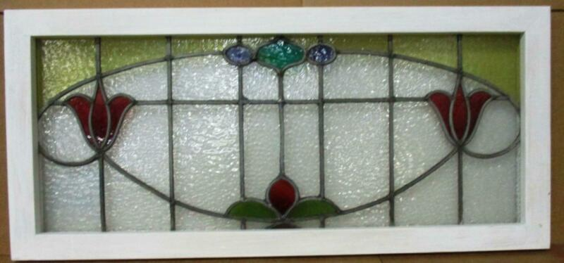"OLD ENGLISH LEADED STAINED GLASS WINDOW TRANSOM Pretty Floral 35.75"" x 16.25"""
