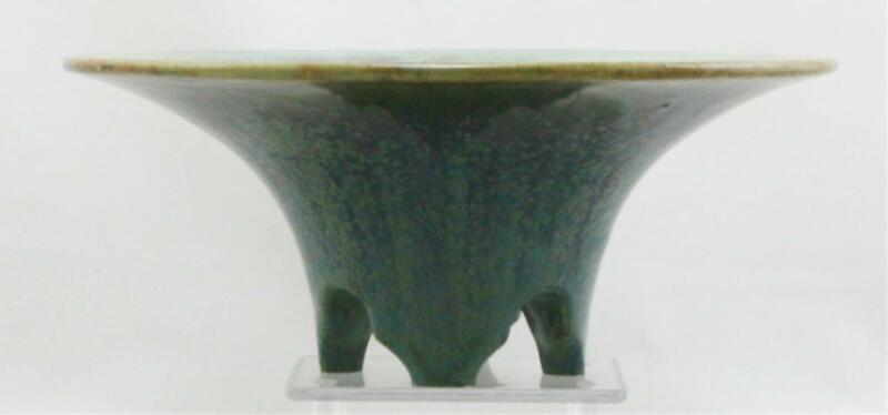 "FULPER FOOTED BOWL 4"" x 10"" c1917-34 CRYSTALLINE SPOTTED GLAZES MINT F444"