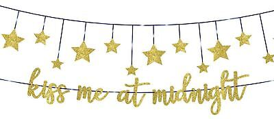 2 New Year's Eve Banners  Kiss Me At Midnight & Stars - Birthday Cinderella Prom