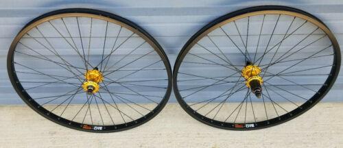 "26"" Sun Rhynolite bolt-on mountain bike wheels 36 spoke gold 6 bolt disc hubs"