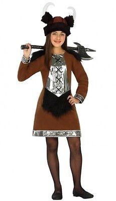 Kostüm braun Mädchen Viking 5/6 Jahre Kind Guerrier film neu - Viking Mädchen Kostüm