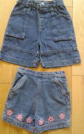2 pairs of girls demin shorts - Age 1.5-2 years