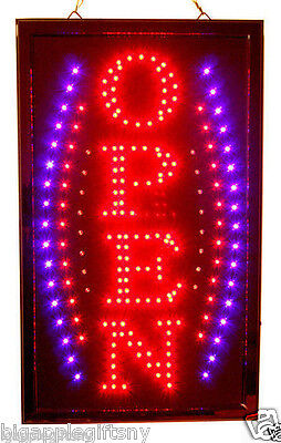 New Bright Vertical Animated Business Led Open Sign W. Switch 19 X 10
