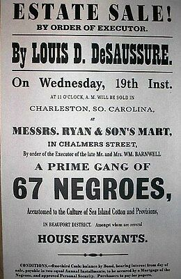 "(059) SLAVERY PRIME GANG OF 67 NEGROES CIVIL WAR BROADSIDE 11""x17"""