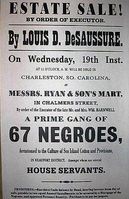 "(059) SLAVERY PRIME GANG OF 67 NEGROES CIVIL WAR BROADSIDE 11""x17"""