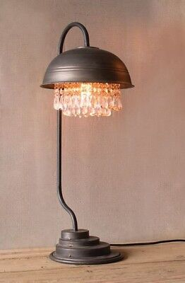 Kalalou METAL DOME TABLE LAMP WITH HANGING GEMS CLL1232