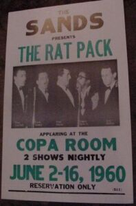 THE RAT PACK 1960 FRANK SINATRA CONCERT POSTER 60S art Sands Las Vegas Copa Room