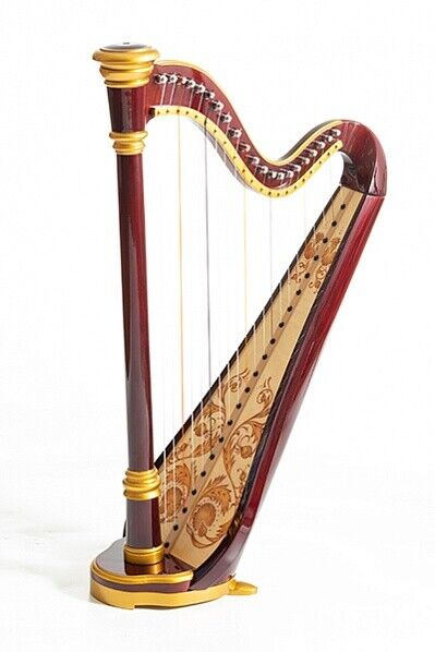 Harp 21 strings. Hand painted. Gold edging. Mahogany. Vintage technology. Iris