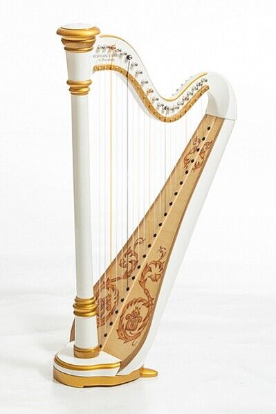 Harp 21 strings. Hand painted. Gold edging. White. Vintage technology. Capris