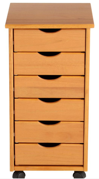 NEW 6 Drawers Rolling Wood End Table Craft Storage Cart Cabi