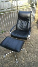 Leather Reclining Swivel Lounge Chair and Footstool