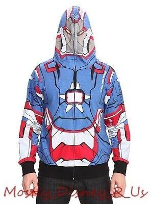 Neu Marvel Patriot Iron Man Full Zip Hoodie Sweatshirt Kostüm Jacke Erwachsene M