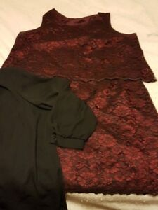Plus size burgundy top and skirt