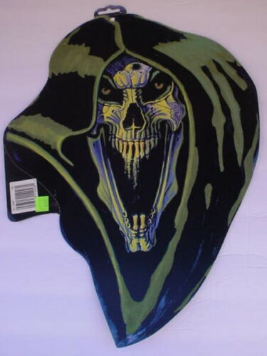Vintage RON LEWIS Amscan GLOW DARK GRIM REAPER Die Cut Head Halloween Decoration