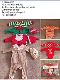3-6months Christmas and Halloween outfits