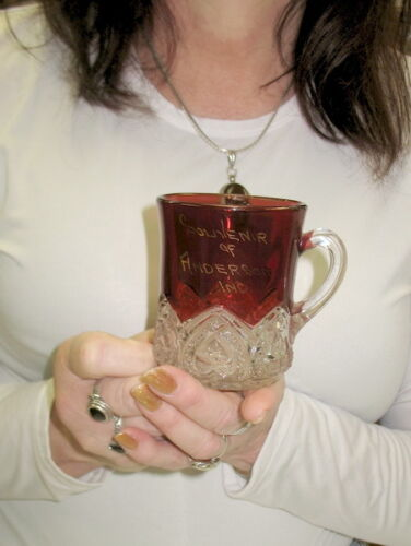 rare ruby red stained / flash EAPG mug / anderson indiana souvenir circa 1890