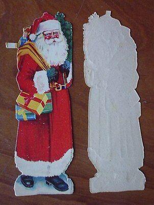 Oblate alt Weihnachtsmann Niko rot St Claus SCRAPS dickes Papier 20er 30er J top