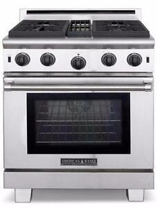 Cuisinière au gaz 30'', Grilles en fonte, American Range