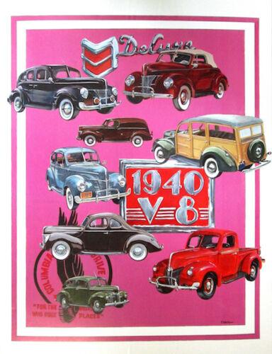 1940 Ford Hand Drawn Illustration Poster FoMoCo