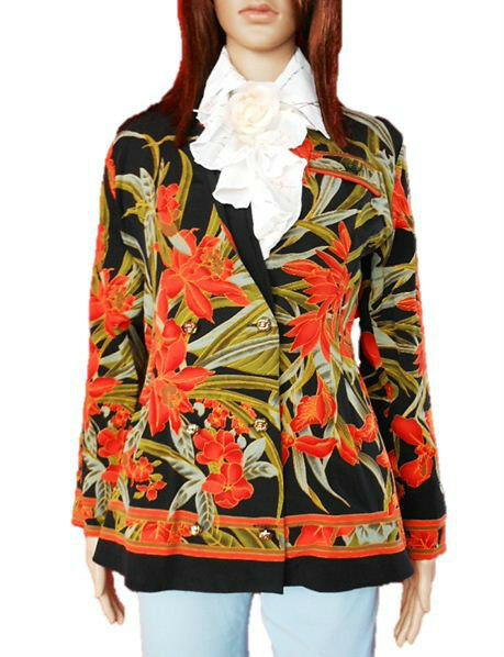 Yessica C&A Vtg 90s Women's Ladies Floral Pattern Tweed Jacket Blazer sz 12 AL81