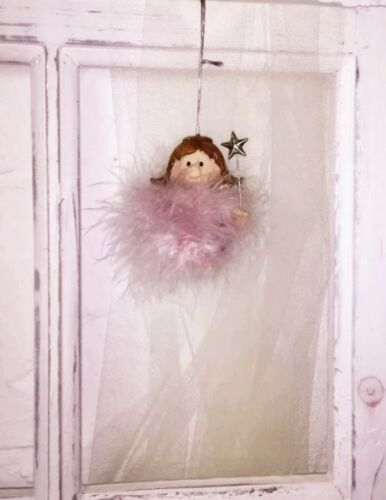 Weihnachtskugel Fell  Rosa ENGEL Nostalgie Christbaumkugel Stern Vintage