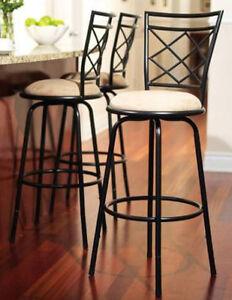 Black Set of 3 Swivel Metal  Bar Height Stools Adjustable Kitchen Counter Stool