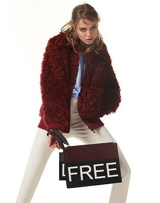DESA 1972 Shearling Winter Bomber Jacket - Ruby Red Size US 6 NEW W/TAG