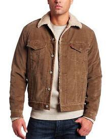 Levi's Men's Type 3 Sherpa Trucker Long Sleeve Jacket, Brown CORDUROY size M 36-40
