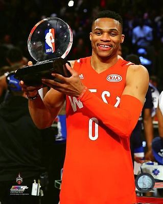 Russell Westbrook MVP Trophy 2016 NBA All-Star Game 8x10 Unsigned - All Star Trophy