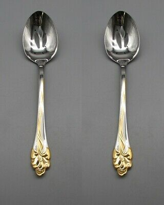 Serving Spoons (SET OF TWO - Oneida Stainless GOLDEN AMARYLLIS Slotted Serving Spoons)