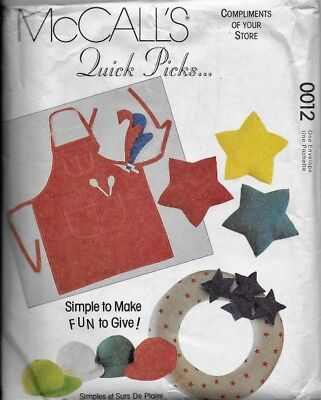 McCall's Sewing Pattern 0012 GIFTS Dog Bed, Apron, Sachets, Cap, Oven Mitt ++