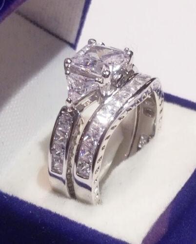 3.50 Ct Princess Diamond Cut Engagement Ring Set White Gold Platinum Finish